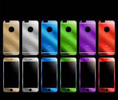 front and back for iphone 6 and 6 plus electroplating tempered glass protectors color gold silver red green blue purple