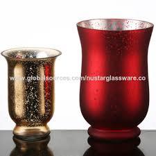 china hand blown red gold mercury glass votive candle holder hurricane