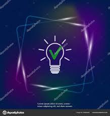 Light Bulb Symbol Meaning Light Bulb Green Checkmark Vector Neon Light Icon Symbol