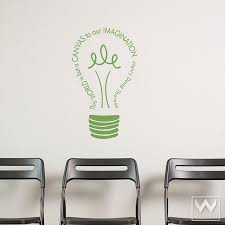 office wall stickers. Imagination Light Bulb Vinyl Wall Decal Inspirational Wall Quotes,  Decals And Office Walls Office Stickers
