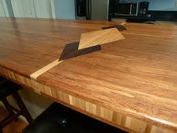 custom bamboo countertops with diamond pattern and inset edge detail