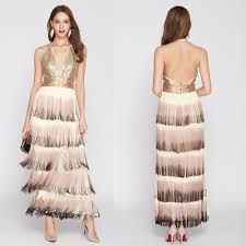 Dinner Dress Design Fashion Chic Women Evening Dress With Sequnies Tassels Design Formal Full Dress Halter For Dinner Party Off Shoulder Buy Evening Dress Party