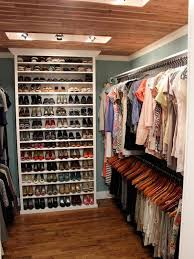 use bookcase as shoe storage inside a small walk in closet