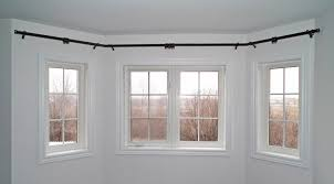 Image of: large bay window curtain rods