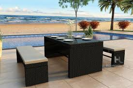patio patio dining set with bench black rectangle contemporary