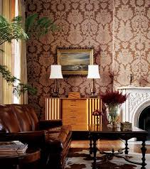 red and brown living room wallpaper