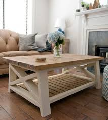 farmhouse style coffee table with ax cream paint and wood ideas 5