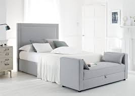bedroom: Contemporary Bedroom With Grey Simple Headboards Color Closed Soft  Pillows Near Amusing Nightstand On