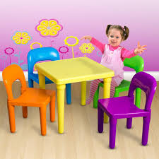 com oxgord kids plastic table and chairs set multi colored children activity table and chairs for playroom includes 1 table and 4 chairs baby