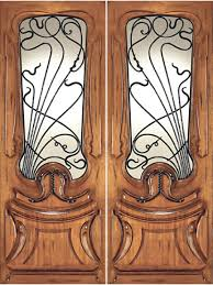 an 20014 2 mahogany hand carved art nouveau forged iron glass double door by aaw exterior