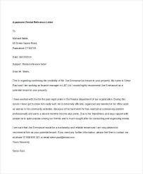 Rental Letter Template Rent Reference Letter Rental Sample Tenant For Apartment