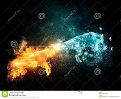 Fire And Water Goats Collide Stock Illustration - Image: 46870449