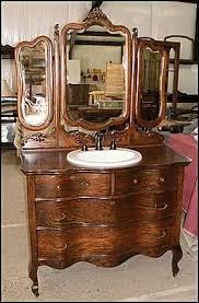 antique looking bathroom vanity. Photo Of Front View - Antique Bathroom Vanity: Triple Mirrored Dresser For Vanity Looking H