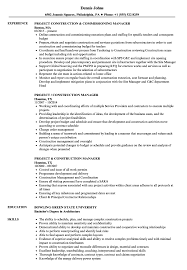 Project Construction Manager Resume Samples Velvet Jobs