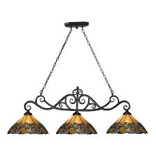 Westmore Lighting Doveridge 51 In W 3 Light Tiffany Bronze And Tiffany  Glass Tiffany Amazing Design
