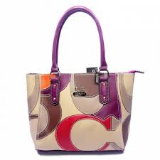 Coach Big Logo Medium Purple Ivory Satchels 049