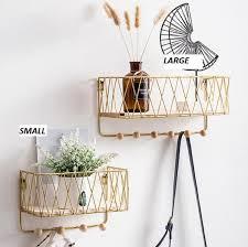wall mounted metal wood basket shelf