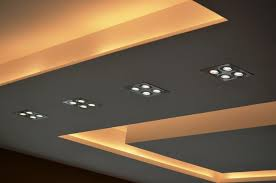 modern spot lighting. Close Up View Of Modern Ceiling Design In Living Hall With Samsung LED Spot Lights And Cove Lighting Effects #Lighting #LED #Lamp E