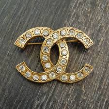 chanel pin. chanel gold plated cc logos rhinestone vintage pin brooch #2241a rise-on chanel e