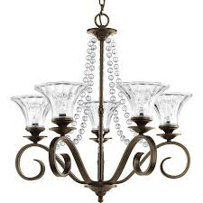 progress lighting bliss 5 light antique bronze crystal clear glass chandelier 1 of 2free