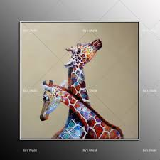 hand painted giraffe oil painting on canvas colorful moder abstract animal paintings home decor as unique