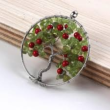 whole kraft beads silver plated cherry red beads pendant natural olivine stone wire wrapped tree of life necklace wedding decoration aquamarine pendant