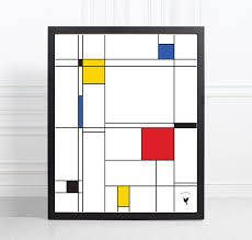 piet mondrian inspired composition geometric abstract giclée art print minimalist design geometric