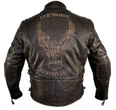 men s retro brown premium cowhide distressed leather embossed cruiser biker jacket
