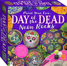 paint your own day of the dead neon rocks small kit rock painting art craft s hinkler