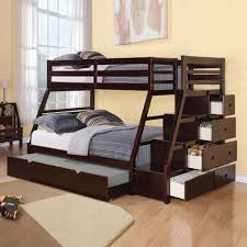 Bunk Beds With Stairs And Slide Dark Stained Pine Wood Bunk Bed