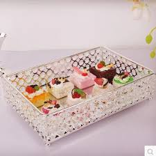Decorative Glass Trays Stainless Steel Rectangle Serving Traycrystal Tray For Wedding Party 47