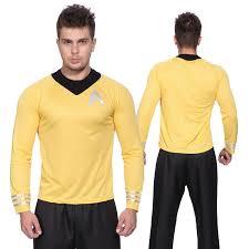 gents star trek shirt fancy dress scotty kirk spock sci fi mens costume outfit