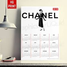 Details About 2019 Coco Chanel 3 Year Planner Annual Wall Chart Calendar A4 A3 A2 A1