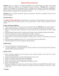 Insurance Billing Specialist Cover Letter Medical Lab Technician