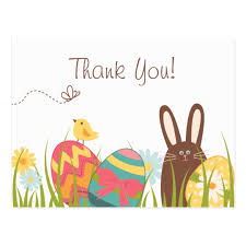 Thank You Easter Cute Bunny And Easter Eggs Holiday Thank You Postcard