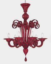 image of red murano glass chandelier