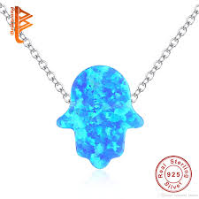 whole bela fashion blue opal pendant necklace for women solid 925 sterling silver hamsa hand necklace with chain jewelry flower pendant