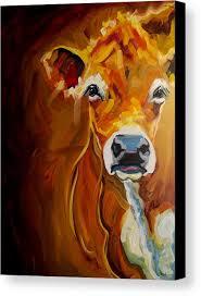 cow art by diane whitehead canvas print featuring the painting k cow by diane whitehead