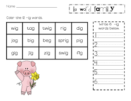 Brilliant Ideas of Ig Word Family Worksheets About Sample ...