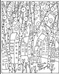 folk art coloring pages.  Coloring Rug Hook Paper Pattern Houses In The Birches Folk Art Abstract Primitive  Karla G Throughout Coloring Pages C