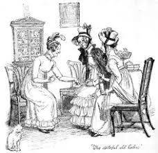 scene from pride and prejudice by jane austen drawing reading