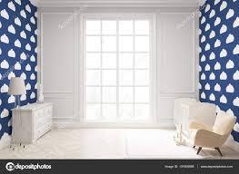 Kinderkamer Met Cloud Behang Op Donker Blauwe Muur Stockfoto