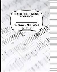 Stave Music Blank Sheet Music Notebook Music Note Cover 12 Stave