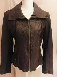 wilson s womens leather l large brown paisley paisley lining stretch jacket coat