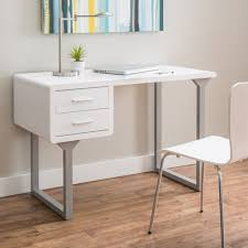 retro styled white writing desk design with modern chair for contemporary home ideas with colorful striped wall hanging