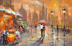 the summer cafe palette knife oil acrylic painting on canvas by dmitry spiros