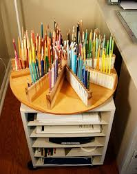 DIY Lazy Susan Wooden Colored Pencil Holder: Create your own colored pencil  caddy with a