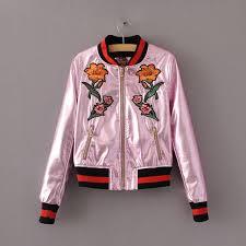 Baseball Basic Winter Flower Rose Embroidery Pu Leather Jacket Women Fashion Print