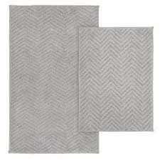 palazzo 2 piece rug washable bathroom rug set in silver