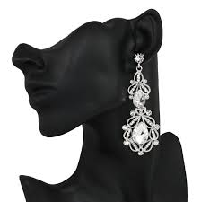 crystal bridal earrings pageant long drop chandelier earrings sparkling earrings silver plated austrian crystal dangling earrings